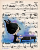 Boston Terrier musician, Boston Terrier gifts, Boston Terrier lovers, boston terrier art print, wall decor, Beethoven boston terrier, piano