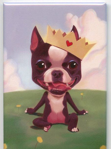 Boston Terrier gift, Dog Art Magnet Boston terrier gift, Boston terrier wearing a crown