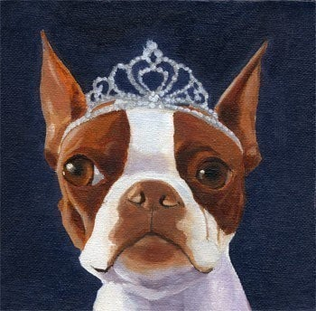 101 Boston Terriers wearing hats series number 20 dog art PRINT