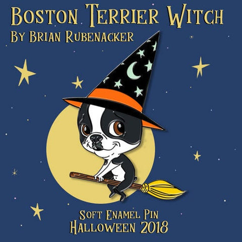Boston terrier witch pin
