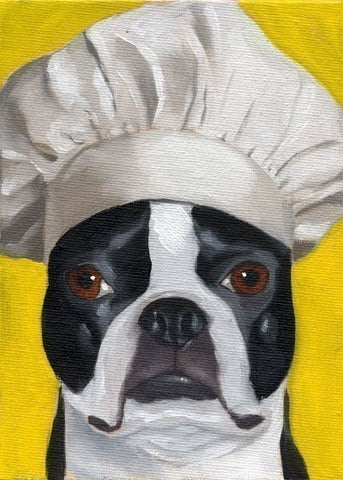 Boston Terrier wearing a chef's hat, Boston terrier chef, Boston terrier kitchen art, Boston terrier gift