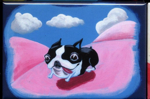 Boston terrier gift, Boston Terrier Running Dog Art Magnet, Boston Terrier art, Boston terrier magnet, Boston terrier artwork