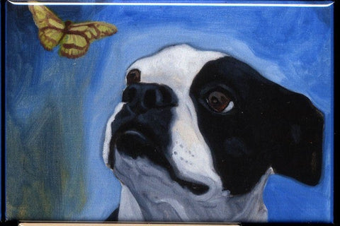 Boston Terrier Butterfly dog art magnet, Boston terrier gift, boston terrier refrigerator magnet