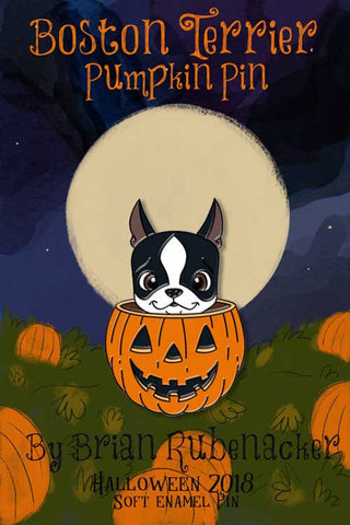 Boston terrier Halloween pumpkin pin