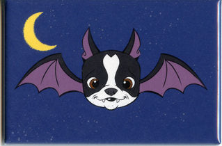 Boston terrier bat, Boston Terrier art, halloween vintage, Dog art magnet, Boston terrier gift, halloween decor, home decor, bat art