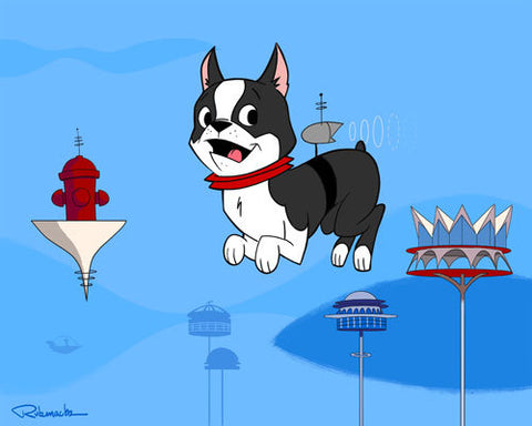 Boston Terrier gift wall art print, Boston terrier Jetsons Hanna Barbera style, wall decor, animation home decor, boston terrier space art