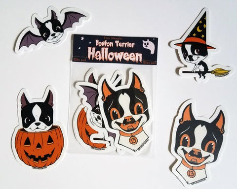 Boston terrier vinyl Halloween stickers, boston terrier stickers, boston terrier gift, dog stickers, Halloween stickers, 3 inch stickers
