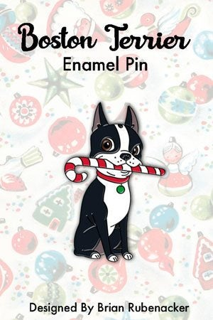 Boston terrier candy cane pin