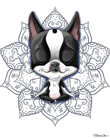 Boston Terrier meditating, Boston Terrier gift,Boston Terrier art, Boston Terrier art print, Boston Terrier decor, wall decor yoga gift