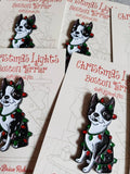 Boston terrier Christmas lights pin