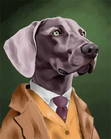 Weimaraner gift, The Well Dressed Weimaraner dog art print, Weimaraner wall art print, Weimaraner wall decor