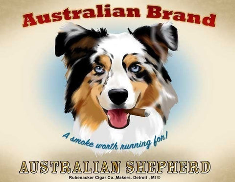 Australian Shepherd Cigar Label Art