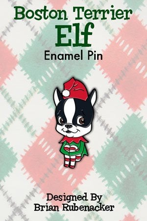 Boston terrier vintage elf pin