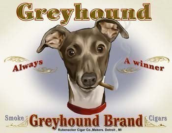 Greyhound Cigar Label Dog Art Print, greyhound gift, greyhound dog art print, greyhound home wall decor art