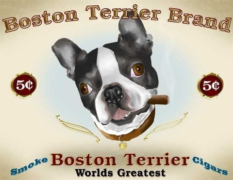 Boston Terrier Cigar Label, Boston Terrier gift, Boston Terrier wall decor, label art, Boston Terrier wall art print