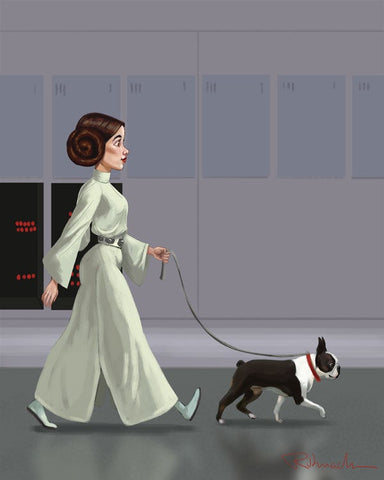 Princess Leia walking a Boston Terrier, Boston terrier gift, Boston terrier art print, Star wars art, wall decor