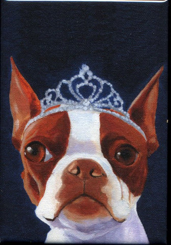 Boston terrier gift, Boston Terrier Tiera hat cute dog art magnet, boston terrier fridge magnet, Boston terrier dog art
