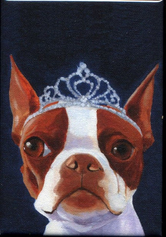 Boston Terrier Tiera hat cute dog art magnet