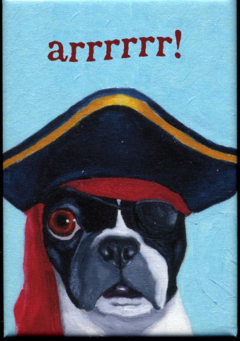 Boston terrier gift,Boston Terrier Pirate Arrr hat cute dog art magnet, Boston terrier fridge magnet, kitchen magnet