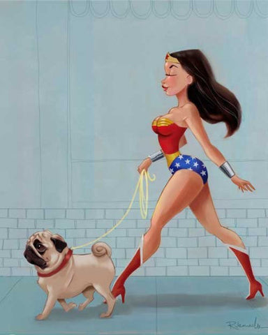 Canvas wall art Wonder Woman walking Pug, Pug wall decor, Pug gift, Wonder Woman walking dog wall art gift