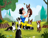 Snow White and the Seven (Dwarfs) Boston Terriers, Boston terrier gift, boston terrier art, boston terrier wal decor, snow white art