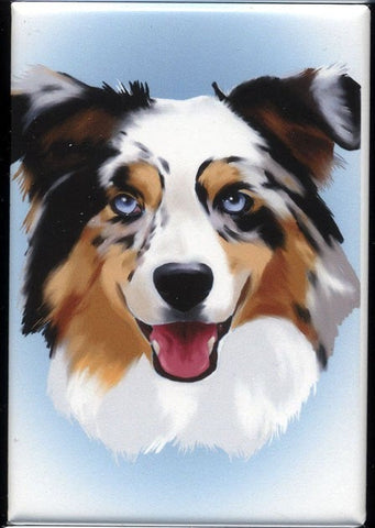 Australian Shepherd cute dog art magnet