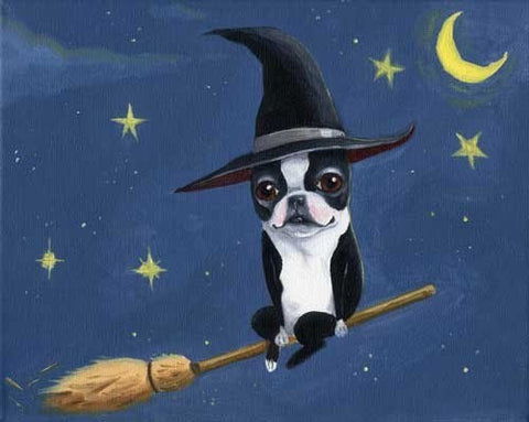 Boston Terrier Witch, Boston Terrier art, Boston Terrier gift, Dog art print, by Brian Rubenacker, Halloween decor, halloween art