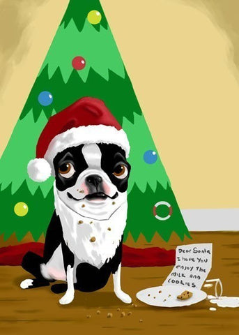boston terrier gift, Boston Terrier holiday Christmas print, boston terrier wall art print, boston terrier dog art gift, dog art