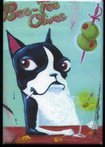 Boston terrier gift, boston terrier magnet, Boston Terrier Olive Label Dog Art Magnet, dog art magnet