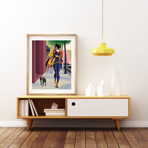 Boston terrier art, Batgirl art print, batgirl walking a boston terrier, boston terrier gift, batgirl art