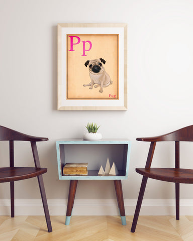 Pug gift, Pug art, pug print, pug wall decor, Cute Pug Dog Art Print,pug flash card, pug wall art print