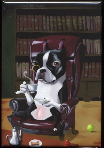 Boston Terrier Tea in the Library Dog Art Magnet, Boston terrier gift, boston terrier magnet, boston terrier art