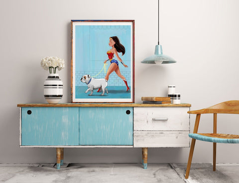 Wonder Woman walking a English Bulldog, Bulldog art, bulldog gift, dog walker gift, wonder woman gift
