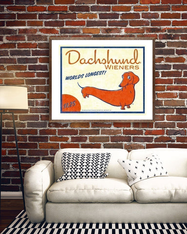 Dachshund Vintage Hot Dog Label Art, Dachshund gift, dachshund wall decor art print
