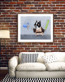 Boston Terrier gift, Jedi Terrier, Boston Terrier Dog Art Print, Boston Terrier decor, Star Wars dog art