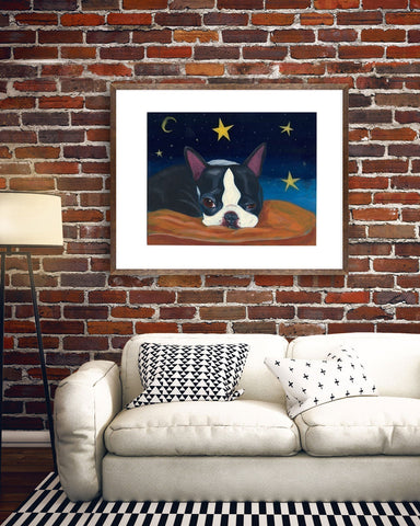 Boston Terrier gift, Boston Terrier Trying to Stay Awake, Boston Terrier wall decor, Boston Terrier artwork
