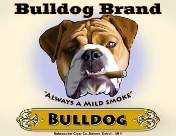 English Bulldog Cigar Label print, bulldog gift