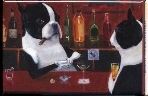 Boston terrier gift, boston terrier magnet, boston terrier art, Boston Terrier Bartender Drinking Dog Art Magnet, bar decor