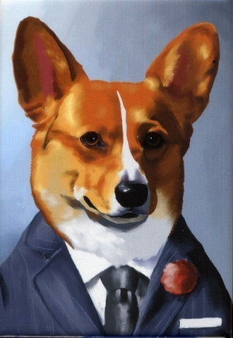 Corgi gift, Corgi Well Dressed cute dog art magnet, corgi art, corgi decor, fridge magnet, corgi kitchen decor