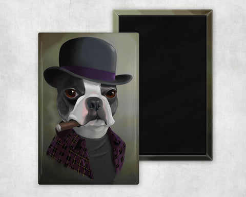 Boston terrier cute dog art magnet, Boston terrier gift,boston terrier wearing a bowler hat, boston terrier at the bar, dressed up dog art