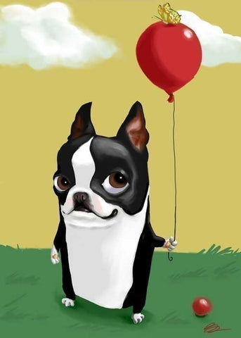 Boston Terrier with a Red Balloon, Boston Terrier gift,Boston Terrier art, Boston Terrier art print, Boston Terrier decor