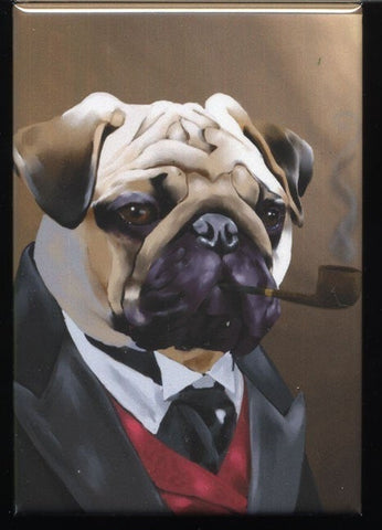 Pug Gentleman dog art magnet, pug gift, pug art, pug dog art magnet