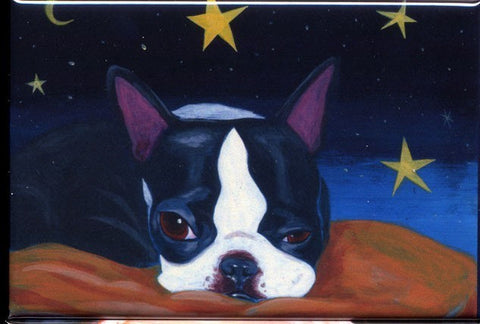 Boston terrier sleepy time dog art magnet, Boston terrier gift, boston terrier fridge magnet, boston terrier art