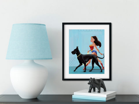 Wonder Woman walking a Great Dane print, Great Dane gift, great dane wall art print, dog art, great dane art