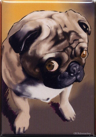 Pug gift, Pug art, Cute Little Pug Magnet dog art
