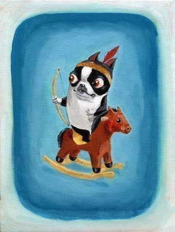 Boston Terrier Playing Cowboys and Indians, boston terrier gift