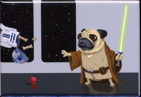 Pug Jedi Cute Dog Art Magnet, Pug gift, pug magnet, kitchen magnet, kitchen decor