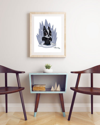 Boston Terrier Jon Snow, Boston Terrier gift,Boston Terrier art, Boston Terrier art print, Boston Terrier decor, wall decor, game of thrones