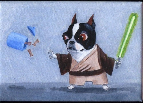 Boston terrier gift, boston terrier art magnet, Boston Terrier Jedi magnet, Star wars gift, star wars art