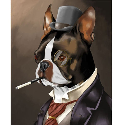 American Gentleman - Boston Terrier Art Print, boston terrier gift, boston terrier wall art home decor, boston wearing a top hat